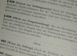 Vorschriften und Urteile über Arbeitszeugnisse, Dienstzeugnisse etc.